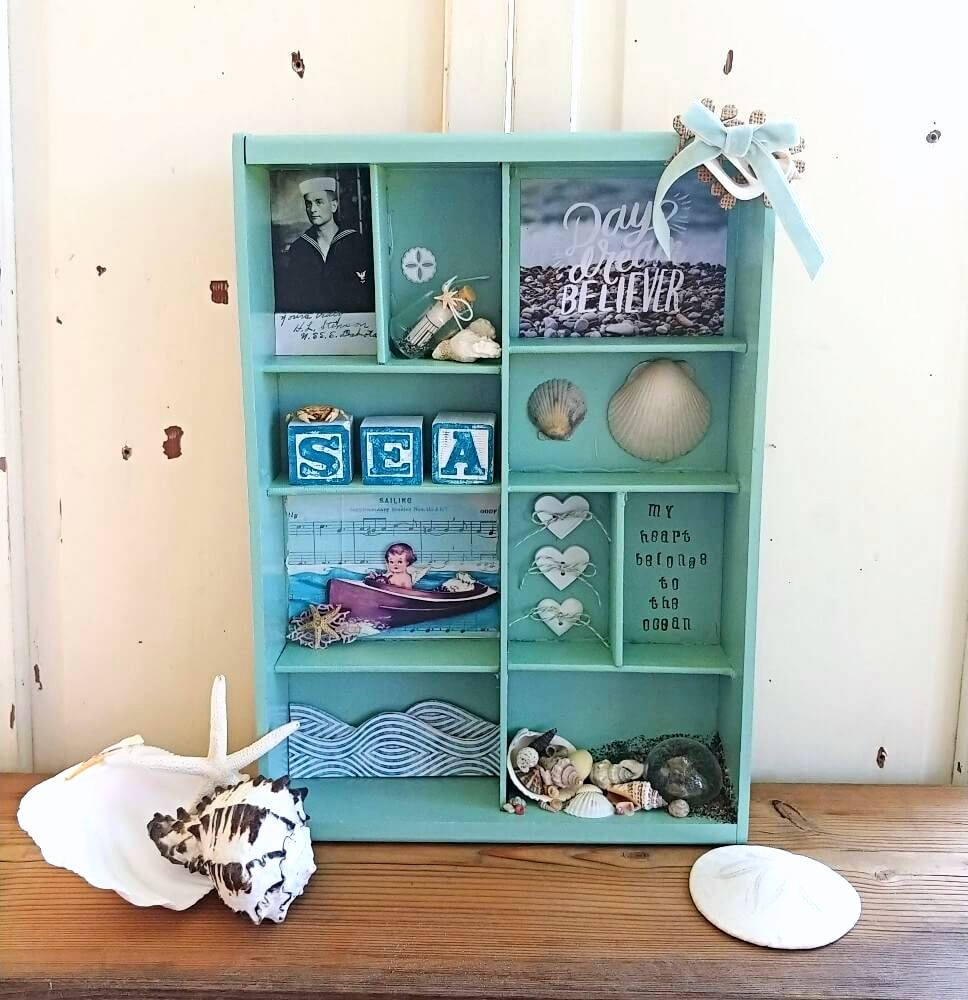 Beach shadow box by Little Vintage Cottage, featured on New Upcycled Projects to make 579 on Funky Junk!