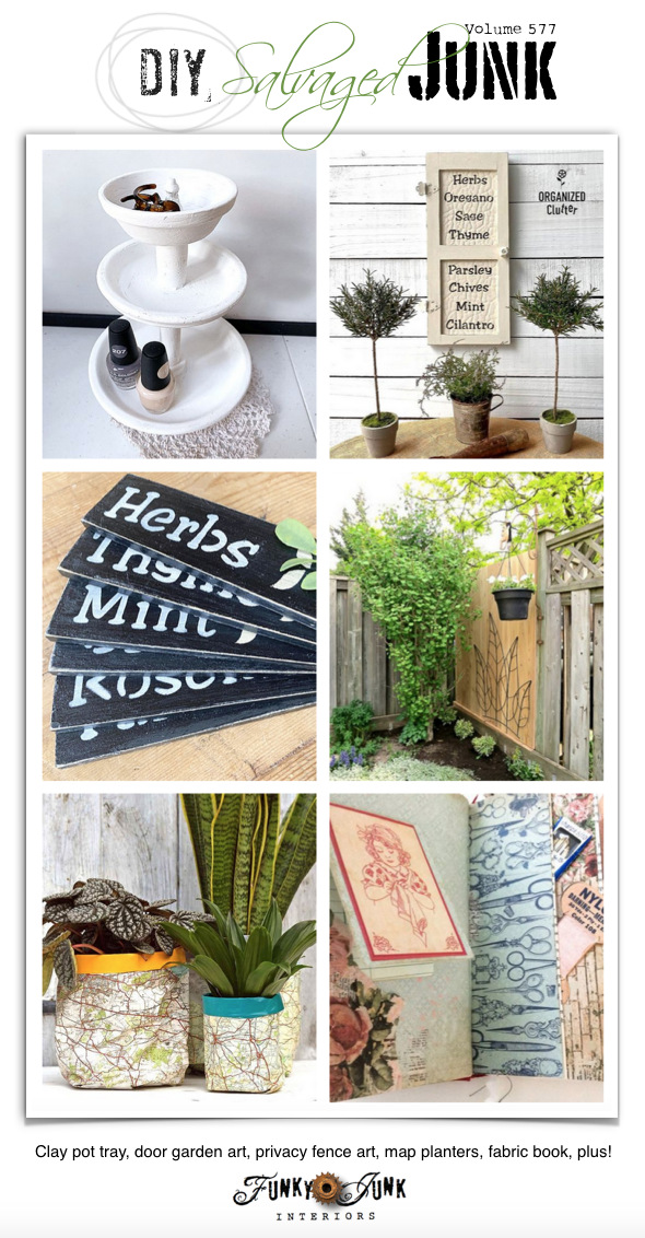 Visit 20+ NEW DIY Salvaged Junk Projects 577 - Clay pot tray, door garden art, privacy fence art, map planters, fabric book, plus! Upcycled projects with tutorials, including a link party! Click to join in!