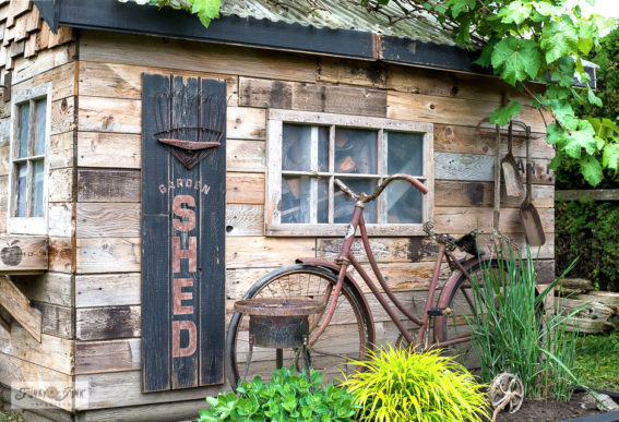 Garden shed sign with easy flower bed edging