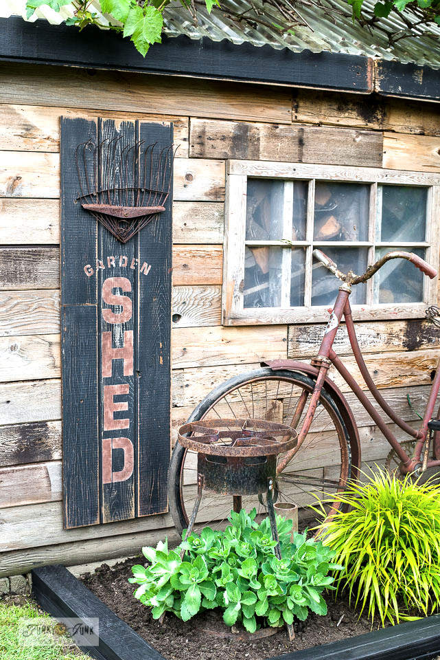 Rustic Garden shed sign with easy flowerbed edging by Funky Junk Interiors