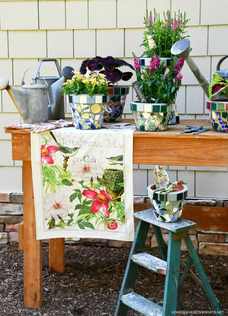 Mosaic flower pots by Home is Where The Boat Is, featured on New Upcycled Projects to make 579 on Funky Junk!