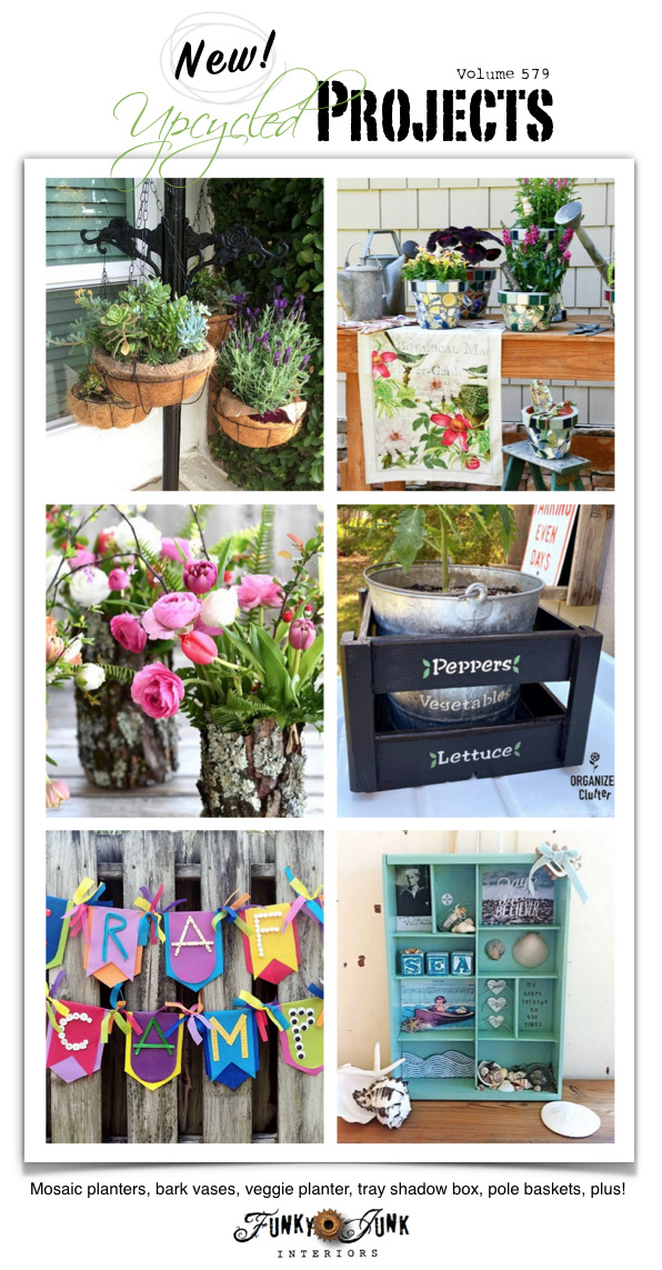 Visit 20+ New Upcycled Projects to Make 579 - Mosaic planters, bark vases, veggie planter, tray shadow box, pole baskets, plus! New repurposed projects with tutorials and a link party! Click to see them all!