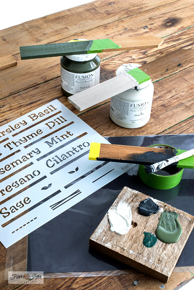 Learn how to DIY these charming cedar strip garden labels with stencils! Perfect to label all your vegetables and herbs with Funky Junk's Old Sign Stencils. Click to read full tutorial.