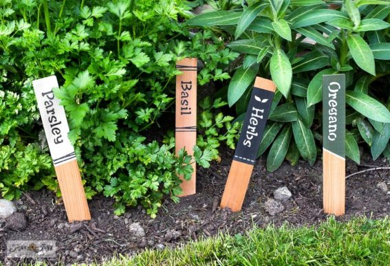 cedar strip garden labels with stencils