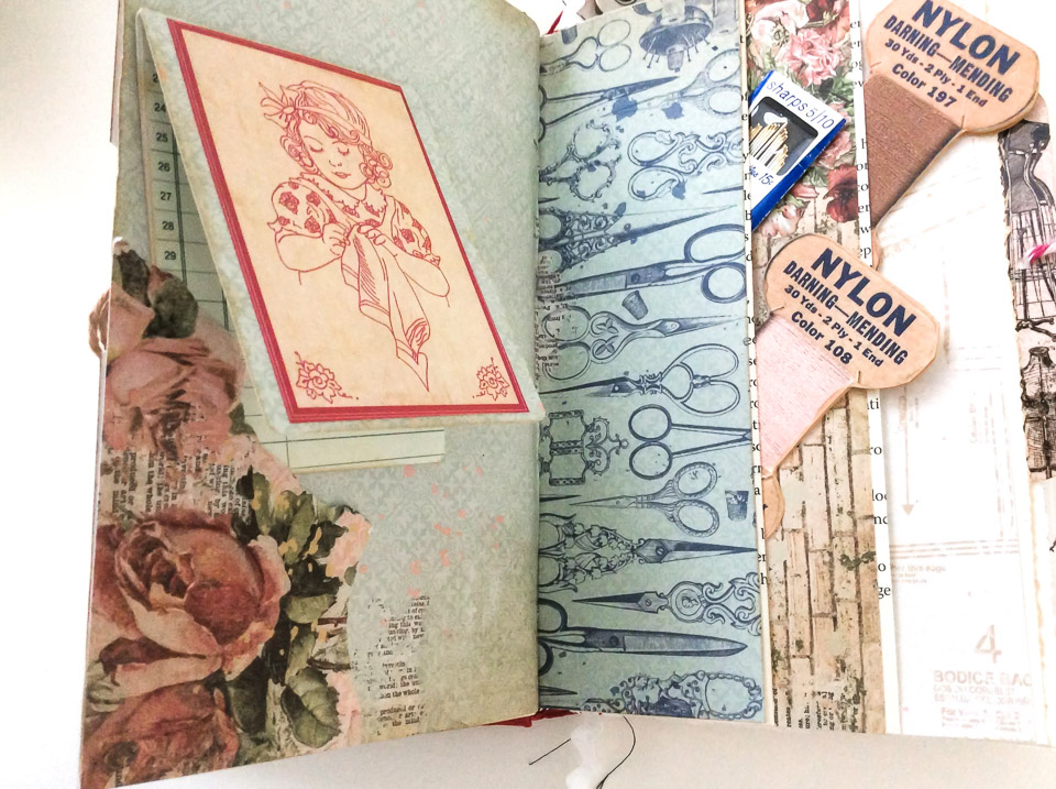 Sewing themed altered book by Fresh Vintage by Lisa S, featured on DIY Salvaged Junk Projects 577 on Funky Junk!