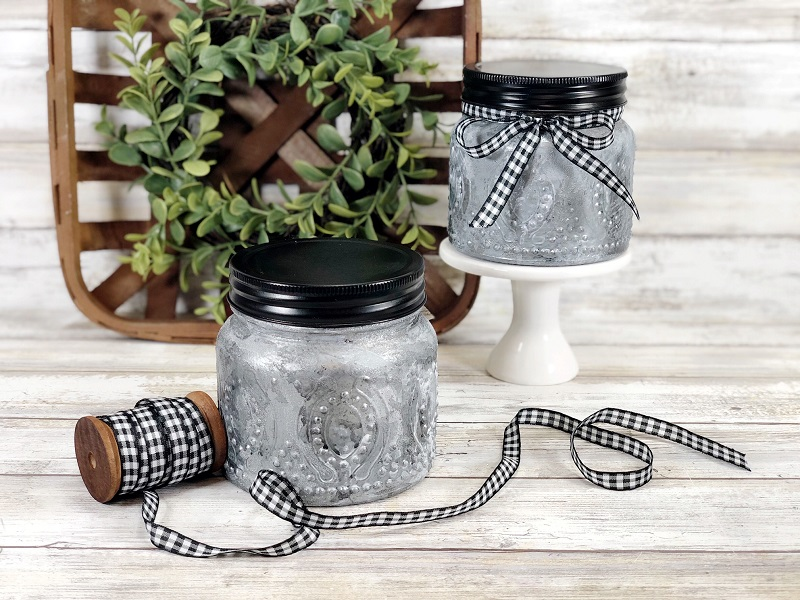Faux farmhouse tin candle mason jars by Creatively Beth, featured on DIY Salvaged Junk Projects 576 on Funky Junk!