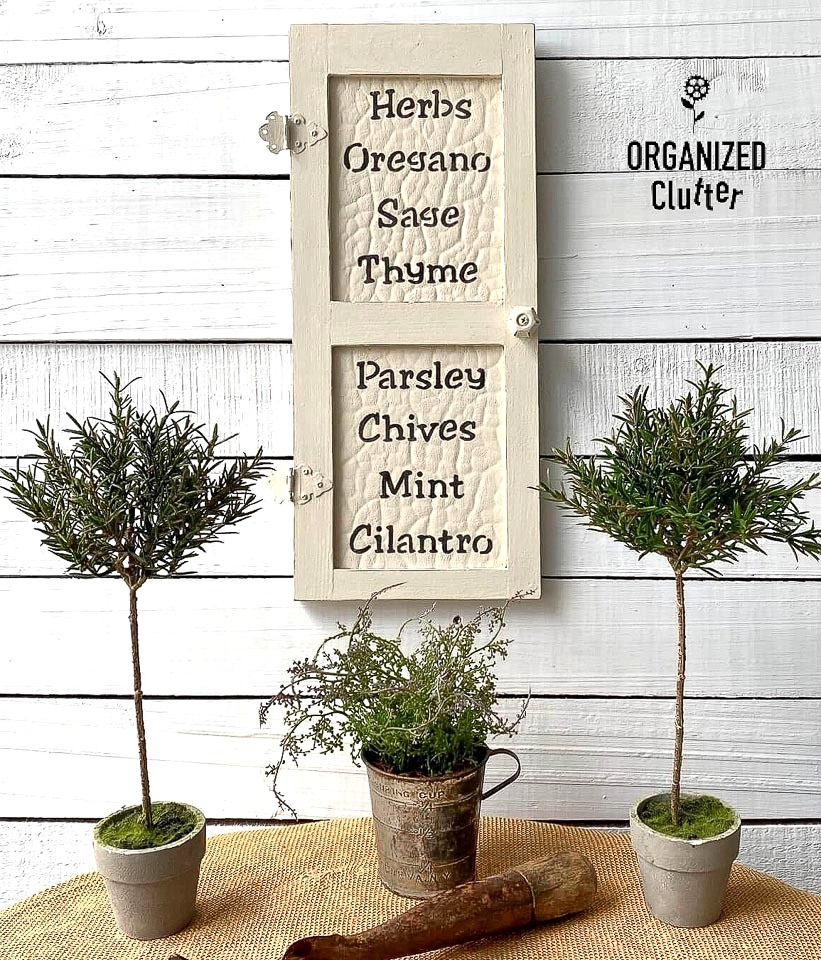 Herbs garden decor by Organized Clutter, featured on DIY Salvaged Junk Projects 577 on Funky Junk!