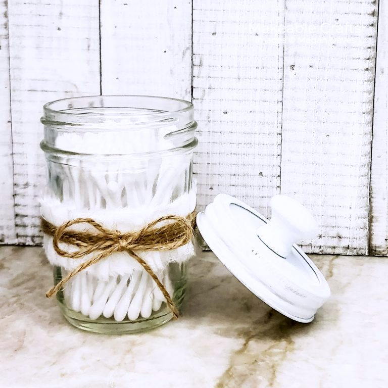 Decorative mason jar revamp to help organize by Makeable Crafts, featured on DIY Salvaged Junk Projects 576 on Funky Junk!