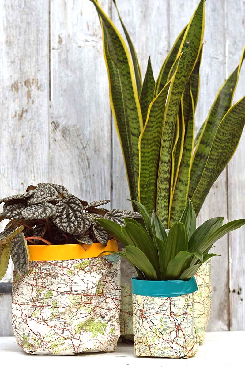 Road map planters by Pillar Box Blue, featured on DIY Salvaged Junk Projects 577 on Funky Junk!