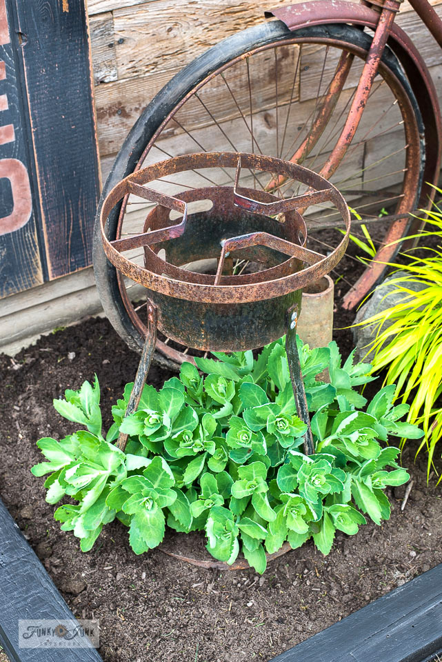 Take the tour of a rustic shed decked out with rusty junk, such as this pot cooker teamed with a plant! Includes how to create a vertical Garden Shed sign. Click for the full tour!