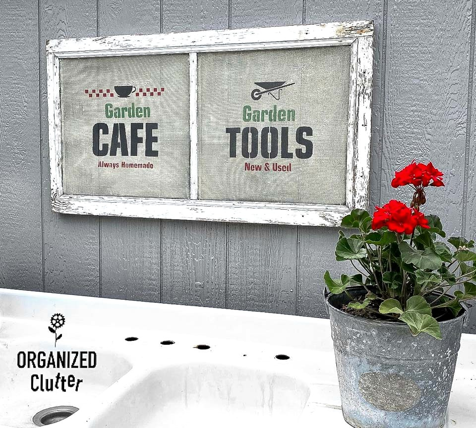Old window screen garden signs by Organized Clutter, featured on New Upcycled Projects To Make 578 on Funky Junk!