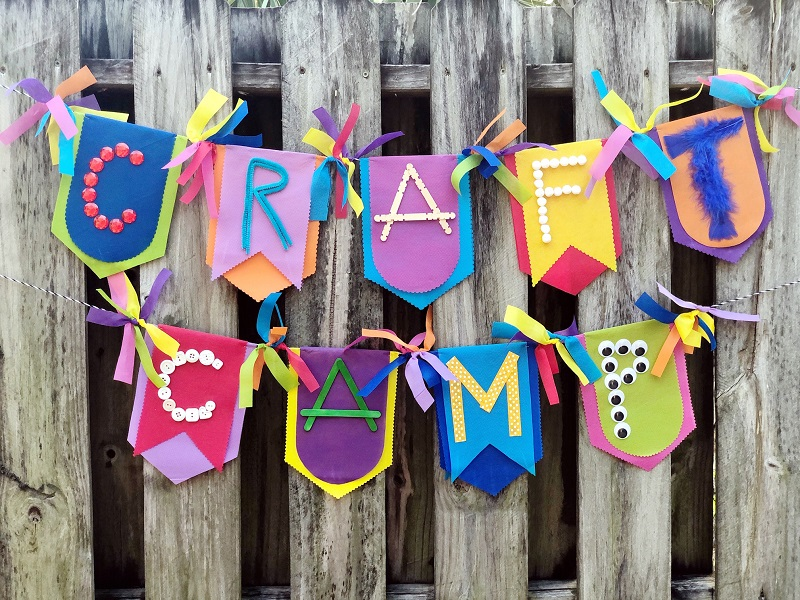 Summer camp banner by Creatively Beth, featured on New Upcycled Projects to make 579 on Funky Junk!