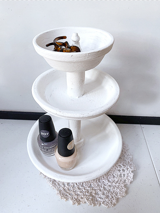 Tiered clay pot jewelry tray by Homeroad, featured on DIY Salvaged Junk Projects 577 on Funky Junk!