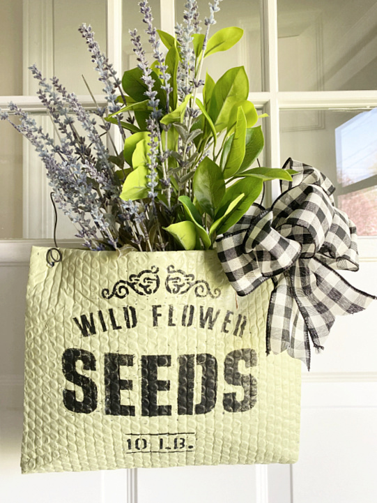 Amazon mailer wildflower sack by Homeroad, featured on DIY Salvaged Junk Projects 576 on Funky Junk!