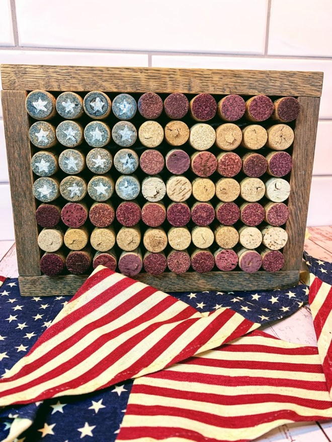 DIY American cork flag by The House on Silverado, featured on New Upcycled Projects to Make 581 on Funky Junk!