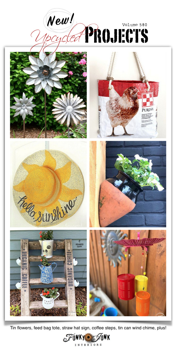 Visit 20+ NEW Upcycled Projects to Make 580 - Tin flowers, feed bag tote, straw hat sign, coffee steps, tin can wind chime, plus! All features and link party lead to full tutorials. Click to visit them all!