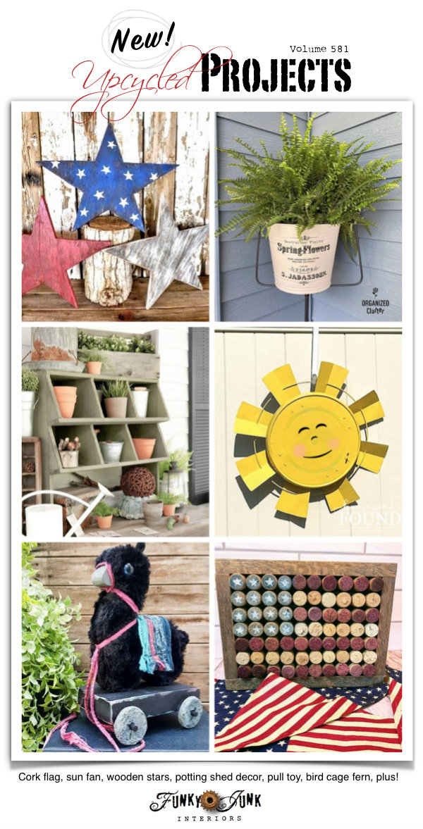Visit 20+ New Upcycled Projects to Make 581 - Cork flag, sun fan, wooden stars, potting shed decor, pull toy, bird cage fern, plus! Click to read repurposed projects with full tutorials!