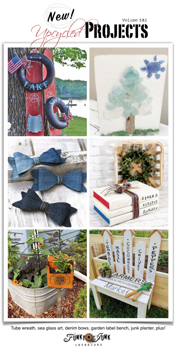 Visit 20+ New Upcycled Projects to Make 582! Lake inner tube summer wreath, sea glass art, denim bows, garden label bench, vintage metal junk planter, plus! Click to view all projects that lead to original tutorials.
