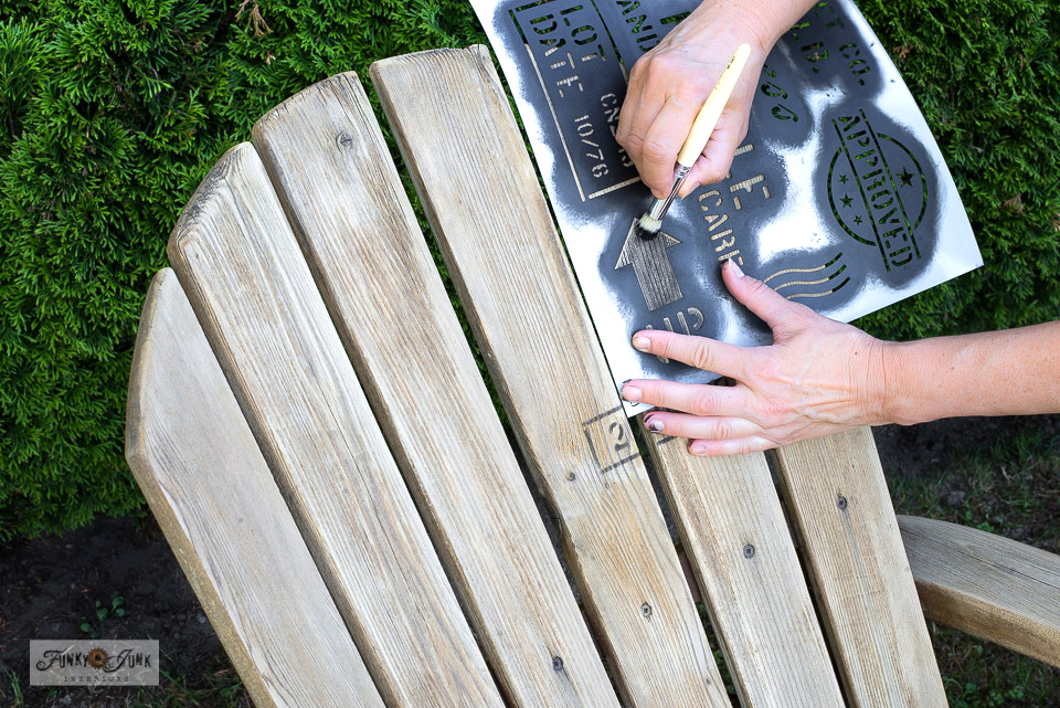 Learn how to customize your outdoor furniture to look like rustic shipping crates with this Adirondack chairs makeover, pallet-style, using stencils! Includes a helpful video on the pressure washing process and pallet stencil sources. Click to visit the full tutorial and see the astonishing before and after results!