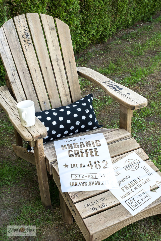 Learn how to stencil an adirondack chair to create a pallet look! Includes stencil tips and where to find Funky Junk's Old Sign Stencils. Click for full tutorial.