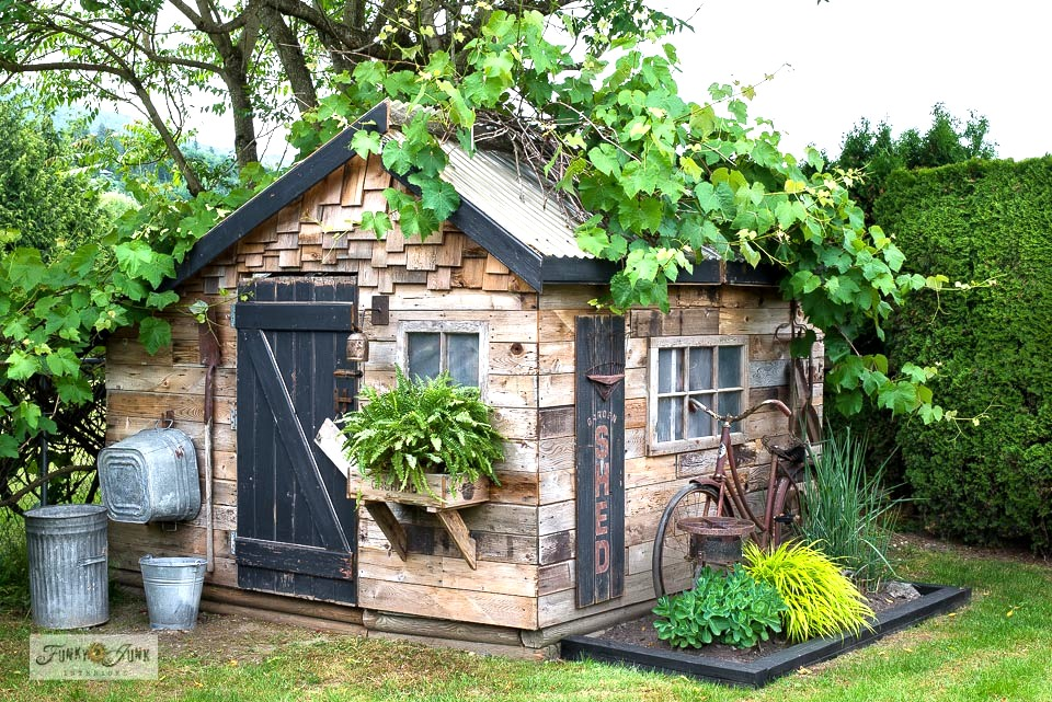 Learn how this rustic garden shed was built using reclaimed wood!