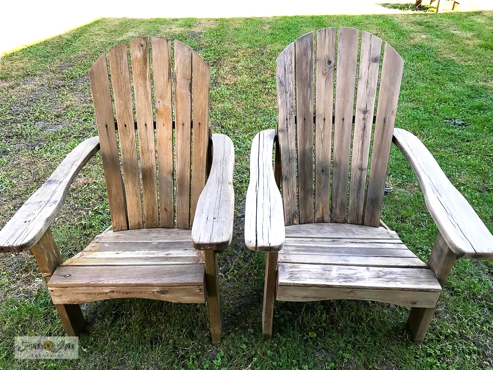 Learn how to clean and sand old adirondack chairs for an instant revamp! Click to read full tutorial.