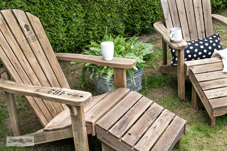 Learn how to make pallet-stye adirondack chairs!