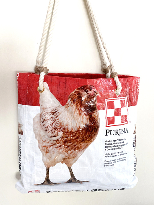 Chicken feed tote bag by Homeroad, featured on New Upcycled Projects to Make 580 on Funky Junk!