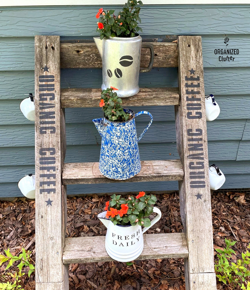 Coffee themed garden step shelves by Organized Clutter, featured on New Upcycled Projects to Make 580 on Funky Junk!