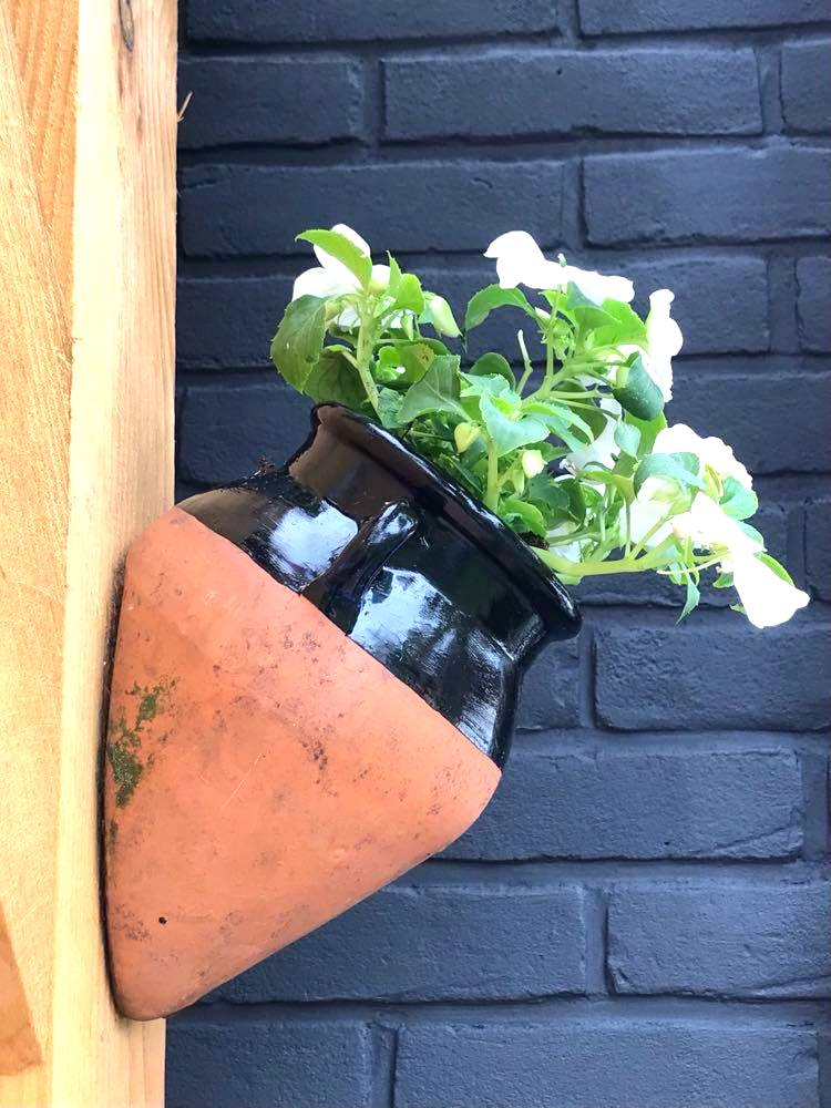 Dipped clay pot planter by Howling at the Moon, featured on New Upcycled Projects to Make 580 on Funky Junk!