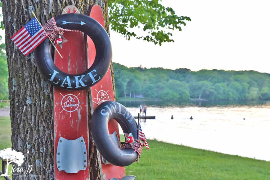 Inner tube Lake wreath by Lora B, featured on New Upcycled Projects to Make 582 on Funky Junk!