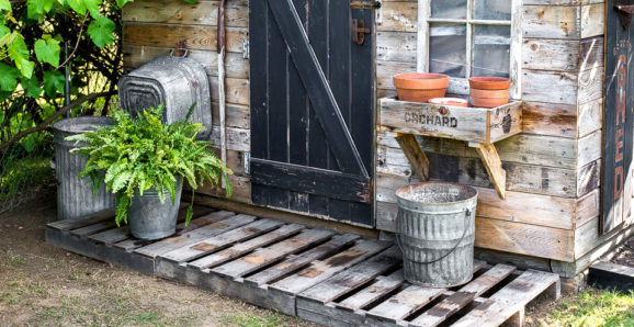pallet porch for a garden shed