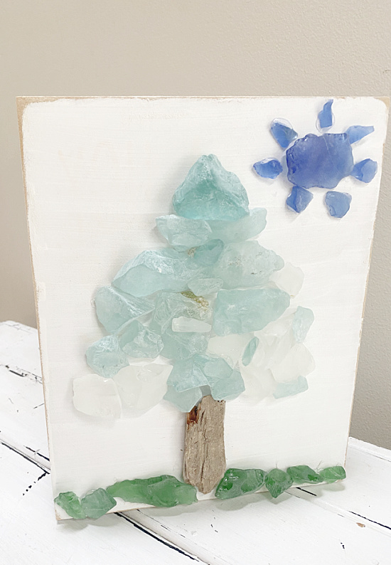 Sea glass art by Homeroad, featured on New Upcycled Projects to Make 582 on Funky Junk!