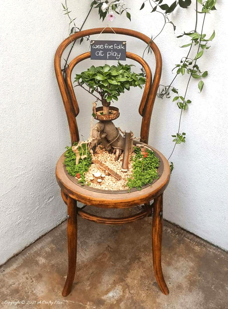 Fairy playground in a chair by A Crafty Mix, featured on New Upcycled Projects to Make 586!