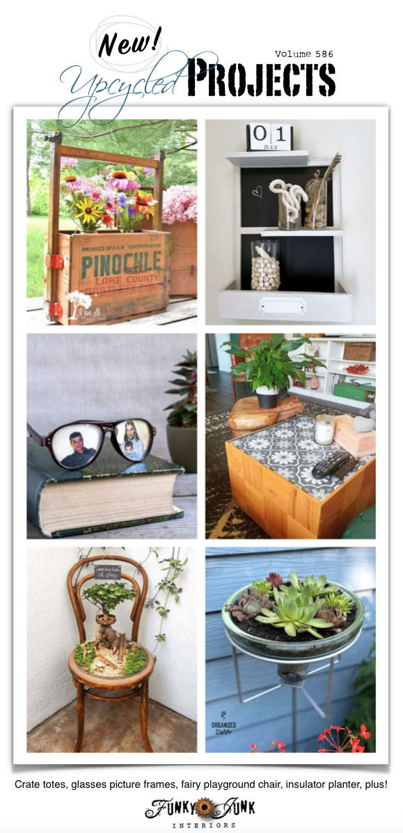 New Upcycled Projects to Make 586 - Crate totes, glasses picture frames, fairy playground chair, insulator planter, plus! New repurposed projects with full tutorials! Click to visit all!
