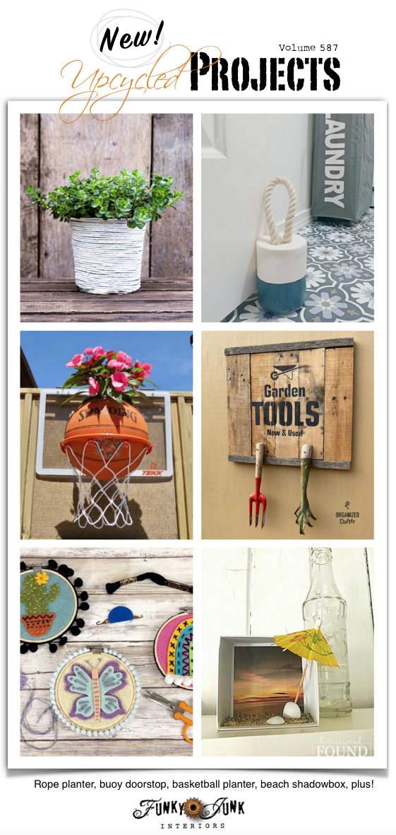 Novos projetos reciclados para fazer 587 - Plantador de corda, batente de porta de boia, plantador de basquete, sombra de praia, mais!  Visite todos os novos projetos adaptados com tutoriais completos neste artigo!