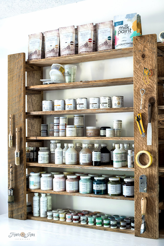 Learn how to build easy adjustable wood paint shelves for free! Perfect for storing paint supplies and there's even a small tool storage station for indoors! Visit the full tutorial HERE.
