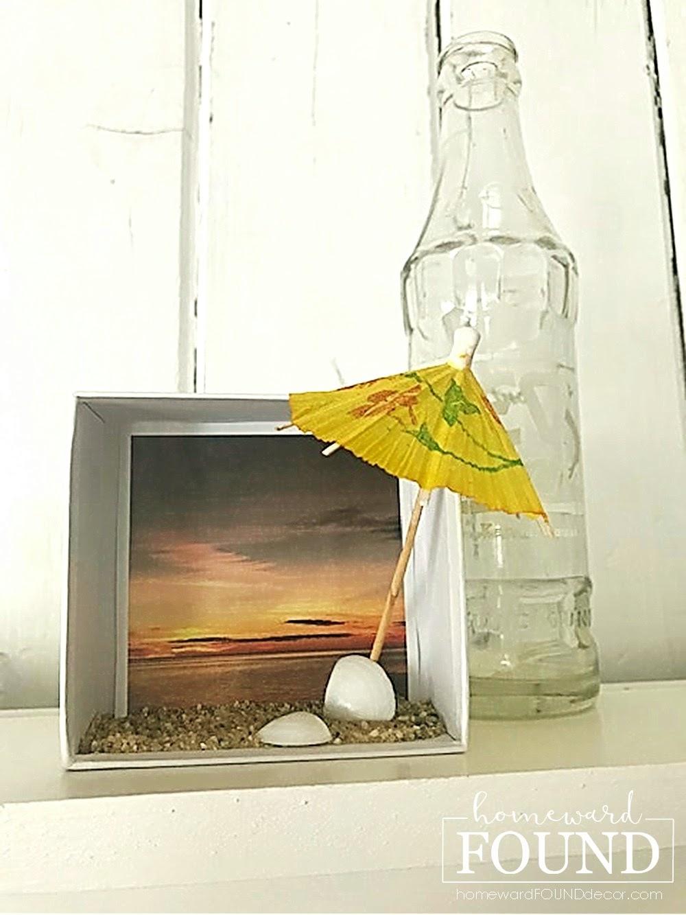 Beach shadowbox de Homeward Found, apresentado em New Upcycled Projects to Make 587!