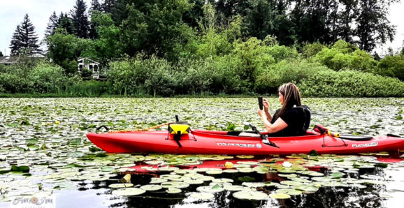 beginner kayaking Mill Lake, Abbotsford, BC