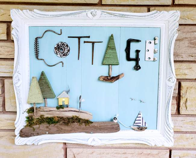 Junk cottage sign picture by Junky Encores, featured on New Upcycled Projects to Make 588!