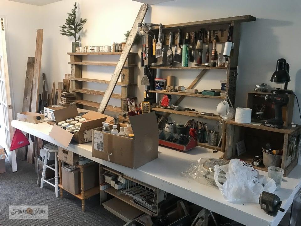 paint station shelf before