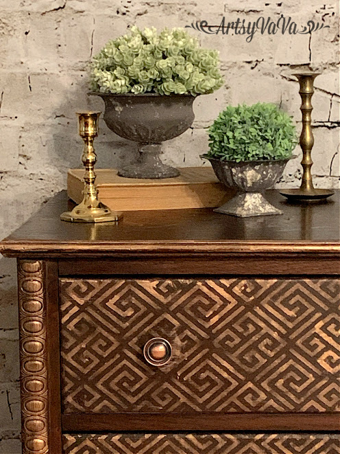Greek glam dresser makeover by Artsy Va Va, featured on New Upcycled Projects To Make 590