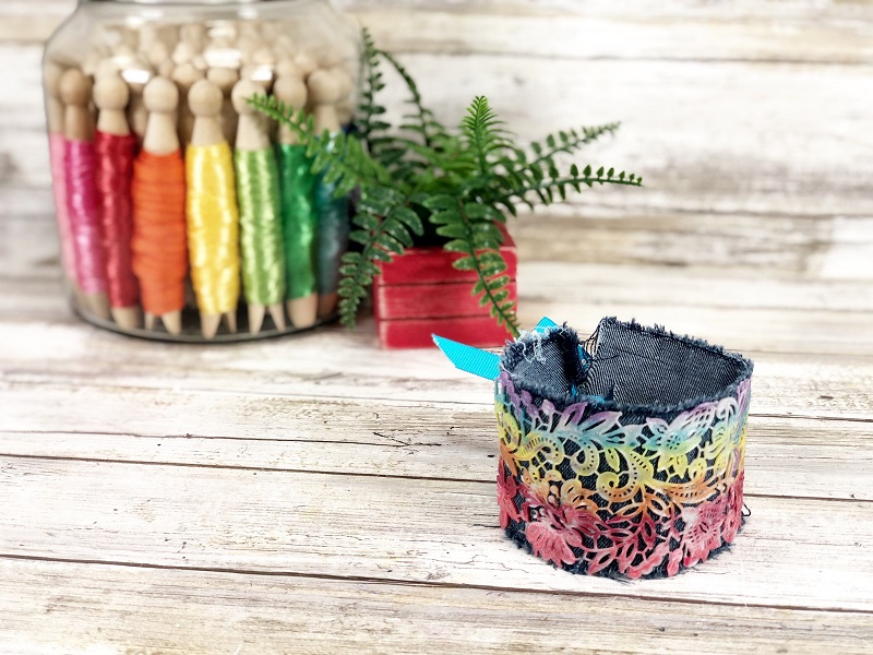 Denim rainbow cuff bracelet by Creatively Beth, featured on New Upcycled Projects to Make 589 on Funky Junk!