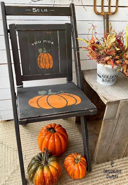Fall pumpkin sign chair makeover by Organized Clutter, featured on New Upcycled Projects to Make 591!