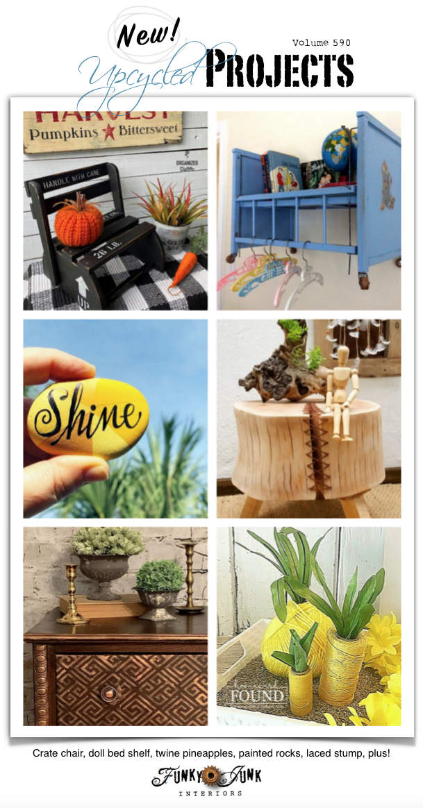 Visit 20+ New Upcycled Projects To Make 590 - Crate chair, doll bed shelf, twine pineapples, painted rocks, laced stump, plus! All new repurposed projects with original tutorials!