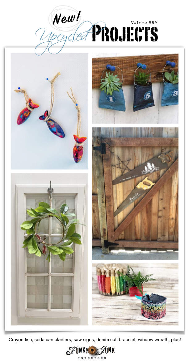 Visit 20+ New Upcycled Projects to Make 589 - Crayon fish, soda can planters, saw signs, denim cuff bracelet, window wreath, plus! See these repurposed projects all leading to full tutorials!