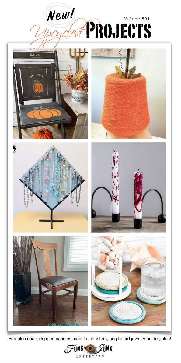 Visit 20+ New Upcycled Projects to Make 591 - Pumpkin chair, dripped candles, coastal coasters, peg board jewelry holder, plus! View 20+ repurposed projects all leading to tutorials!