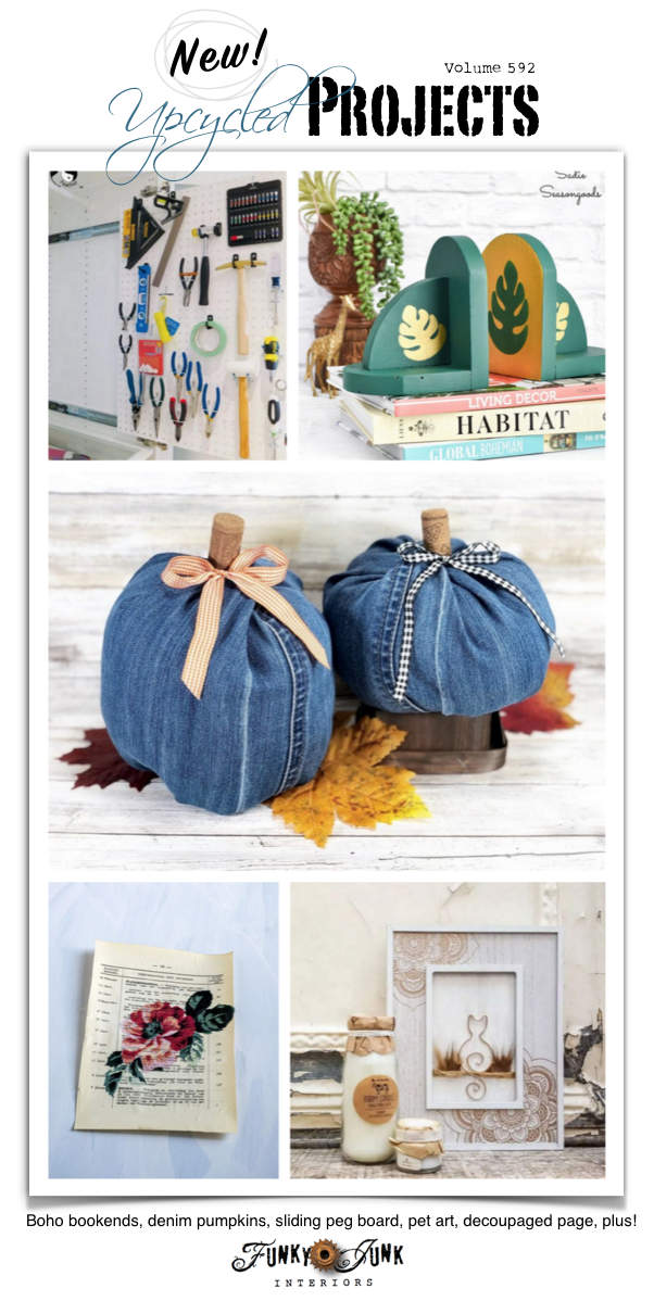 Visit 20+ New Upcycled Projects to Make 592 - Boho bookends, denim pumpkins, sliding peg board, pet art, decoupaged page, plus!