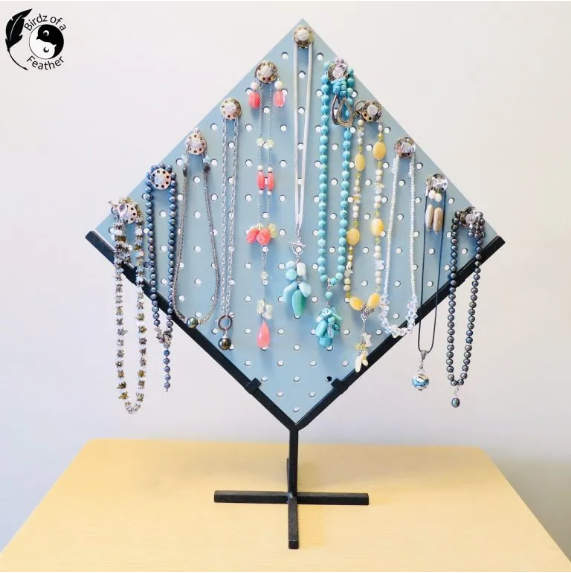 Peg board jewelry stand by Birdz of a Feather, featured on New Upcycled Projects to Make 591!