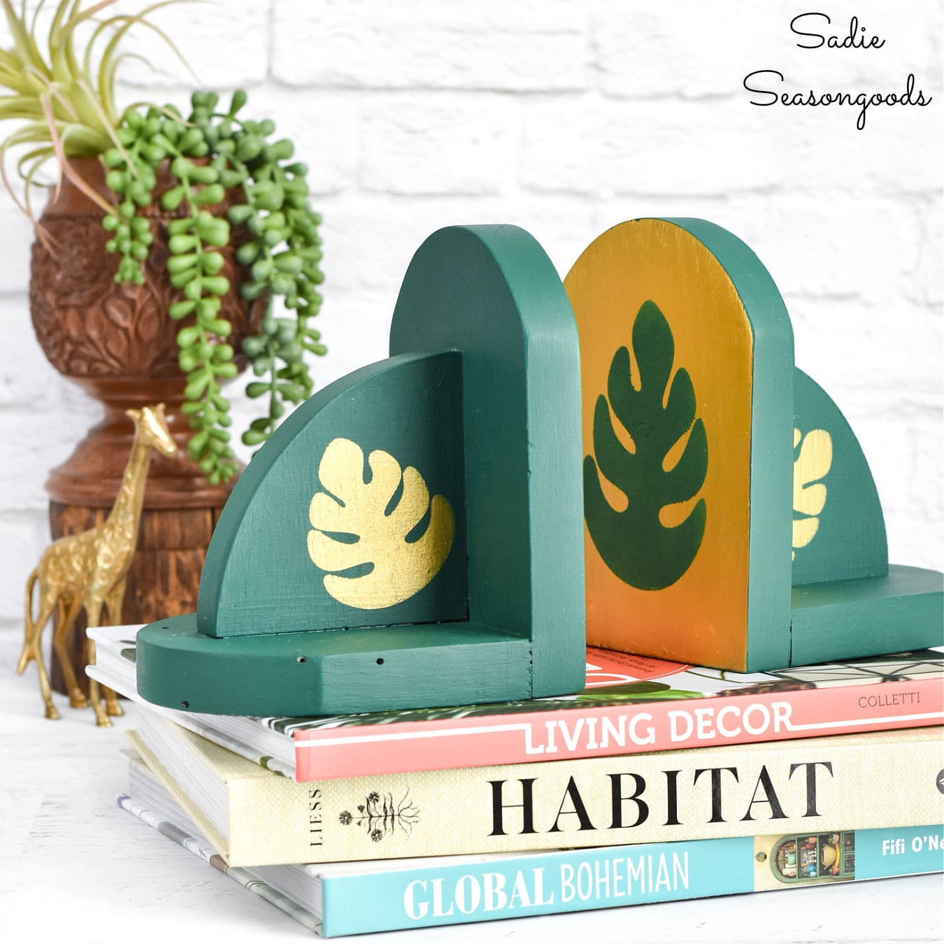 Boho bookends by Sadie Seasongoods, featured on New Upcycled Projects to Make 592